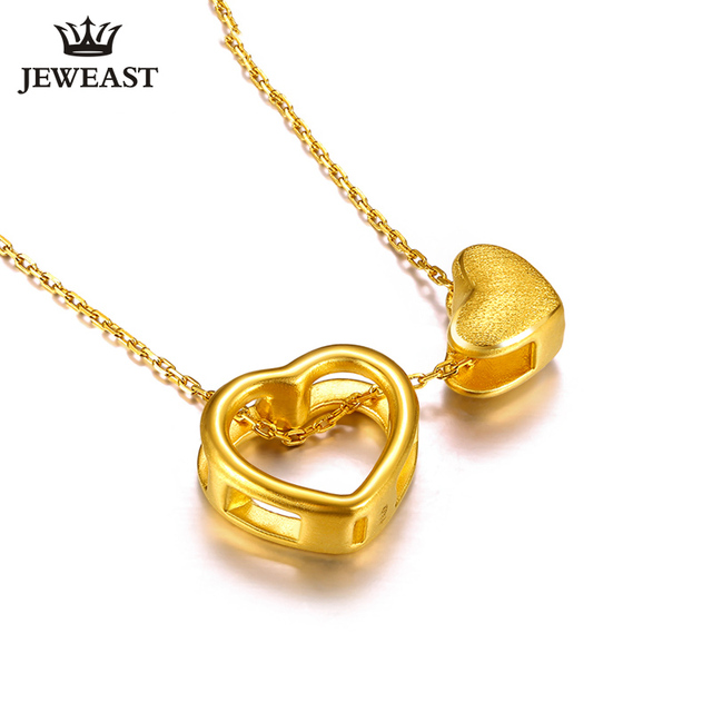 XXX 24K Pure Gold Necklace Real AU 999 Solid Gold Chain Trendy Nice Beautiful Double Hearts Upscale Party Jewelry Hot Sell New 1