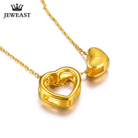 24K Pure Gold Necklace Real AU 999 Solid Gold Chain Trendy Nice Beautiful Double Hearts Upscale Party Jewelry Hot Sell New 2018