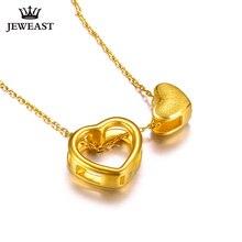 XXX 24K Reinem Gold Halskette Echt AU 999 Solid Gold Kette Trendy Nizza Schöne Doppel Herzen Gehobenen Party Schmuck heißer Verkauf Neue
