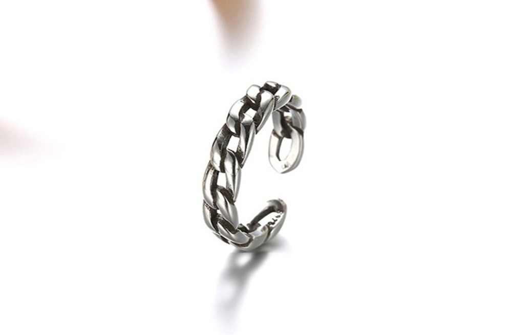 QIMING Серебряная цепочка рокер кольца для мужчин ювелирные изделия женщин байкер регулируемое кольцо размер 7 подарок на день рождения
