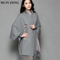 Women Scarf Winter Women Scarves Knit Wrap Shawl Thick Warm Cotton Cashmere Wool Poncho Print Women's Scarf Oversized Cape