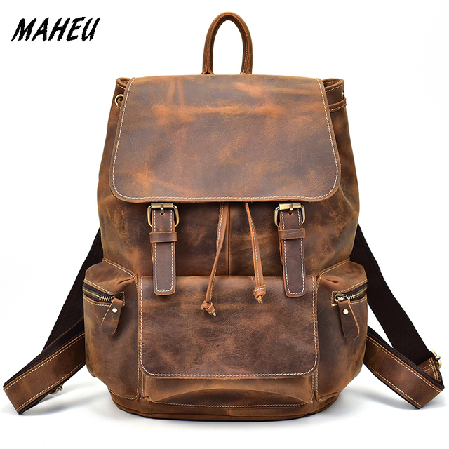 Vintage Men S Genuine Leather Backpack For Laptop Cowhide School Bag Agers Women Crazy Horse