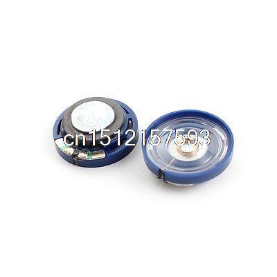 2Pcs 0.25W 16 ohm 29mm Round Blue Plastic Magnet Electronic Speaker Loudspeaker 2pcs blue