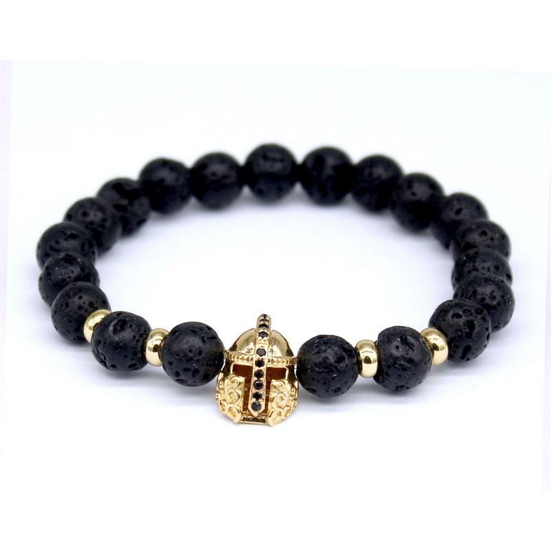 Warrior Men Black Lava Stone Gold Spartan Helmet Beaded Woven Bracelets Cheapest