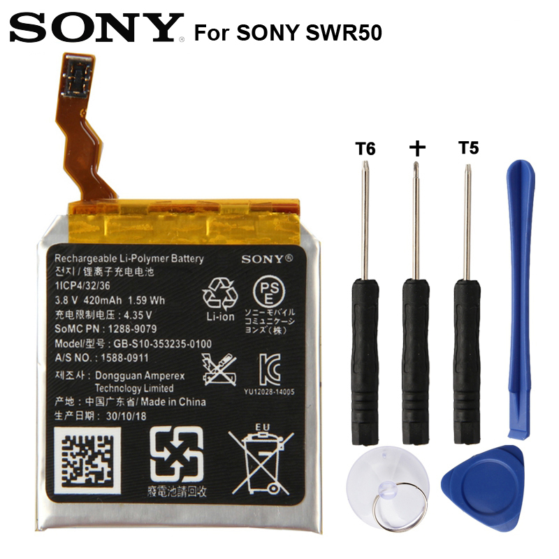 Original SONY Battery For SONY SmartWatch 3 SW3 SWR50 3SAS 420mAh|Mobile Phone Batteries| |  - title=