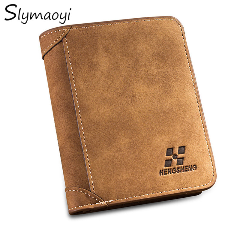New Men's Wallets Men Short Nubuck Leather Purse Two fold Wallets for Man High Quality Credit Crad Holders Vintage Money Bag
