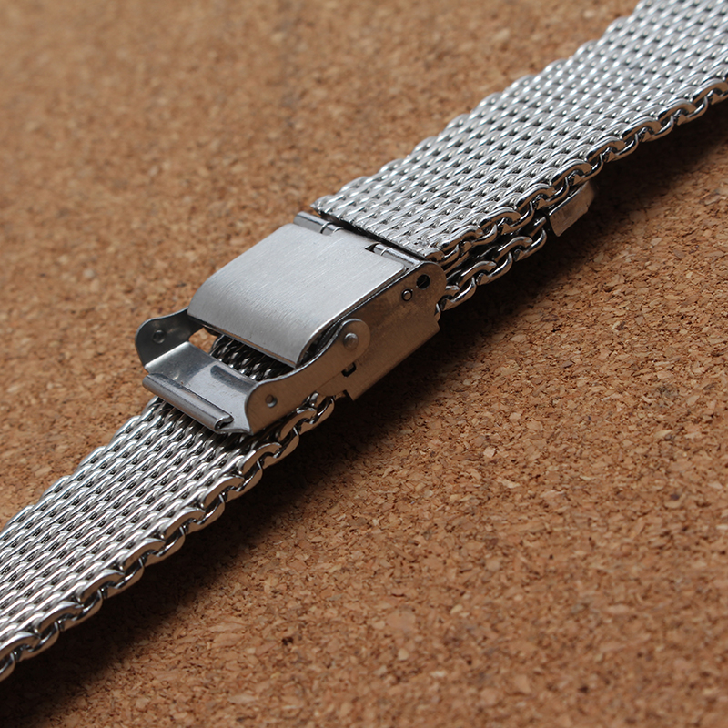 Watchband 20mm 22mm Metal Stainless Steel Mesh Watch Strap Folding Security Clasp High Quality Watchband Bracelets