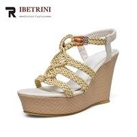 RIBETRINI Brand New Elastic Band Solid Wedges High Heels Platform Shoes Woman Casual Summer Popular Sandals