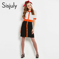 Sisjuly Vintage Dress Women 60s Autumn Patchwork A Line Short Sleeve Knee Length Work Office Lady