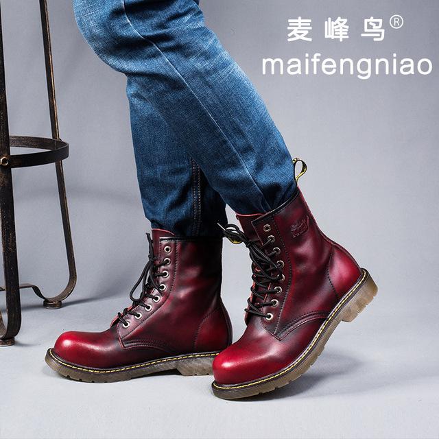 Gran tamaño de los hombres de cuero genuino de alta utillaje martin botas moda vintage zapatos de plataforma ata para arriba oxfords zapatos calzado al aire libre