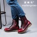 Tamanho grande dos homens de couro genuíno de alta ferramental martin botas da forma do vintage sapatos de plataforma rendas até oxfords zapatos calçado ao ar livre