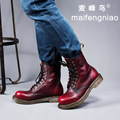 big size men genuine leather high tooling martin boots fashion vintage platform shoes lace up outdoors footwear oxfords zapatos