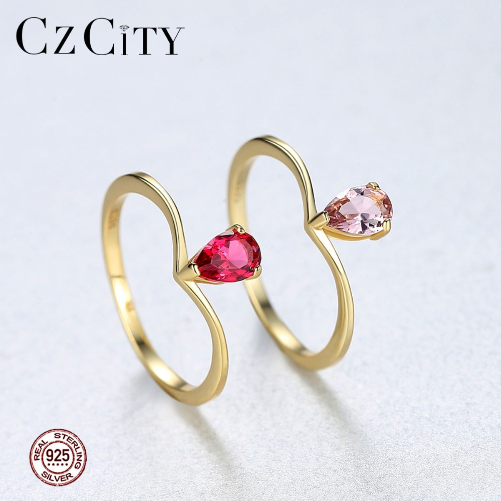 CZCITY New Exquisite Pure 925 Sterling Silver Rings For Women Luxury Jewelry  Double Color Engagement & Wedding Accessories Gift