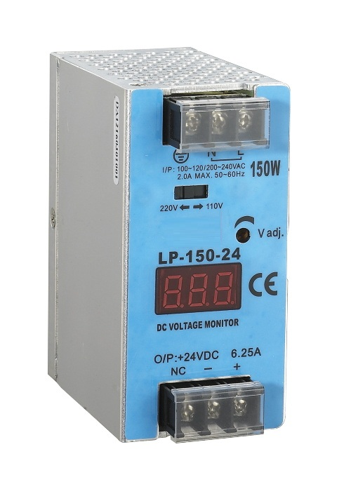 mini size din rail power supply LP-150-12 150W 12v 12.5a switching power supply CE approved with digital monitor