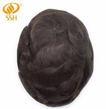 Mono Lace Frontal Men Hair Replacement Breathable Toupee Mens Male Wig(China)