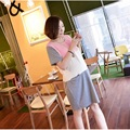 Casual summer wear short-sleeved round neck pregnant maternity nursing dress for pregnant women breast-feeding cotton dress 1165