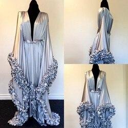 Ночная рубашка большого размера с длинным рукавом, Многоуровневая Пижама с гофрированными элементами, на заказ, длина до пола, ночная рубаш...