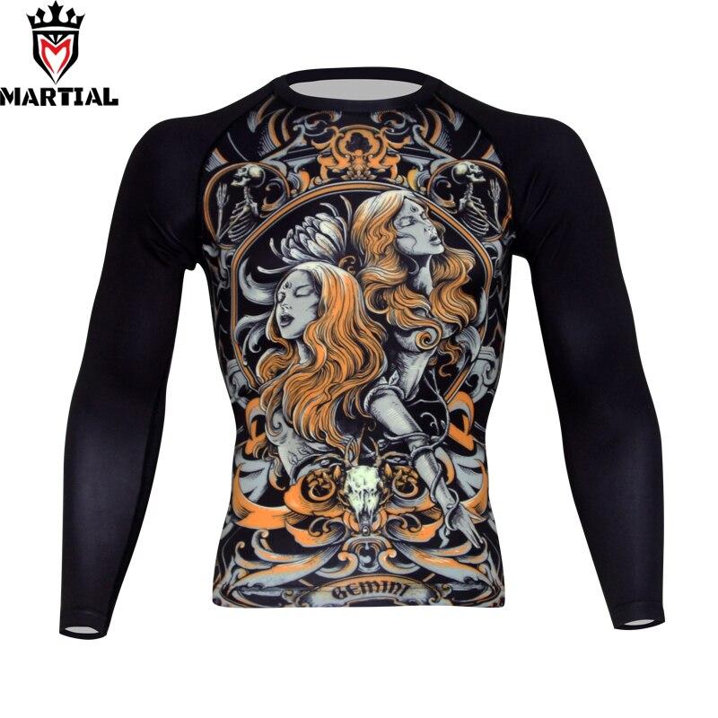 Martial : Gemini design boxing jerseys muay thai t shirt rash guard mma sport man shirt t men boxing customized rashguards цена