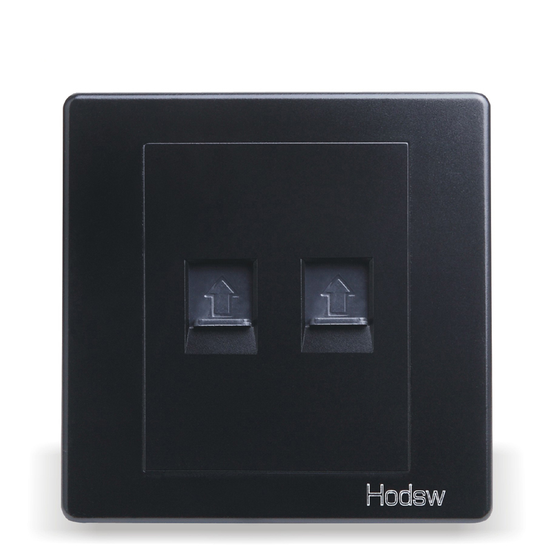 Home Installed Wall Switch Socket 86 Type Concealed Black Steel Frame Double font b Computer b