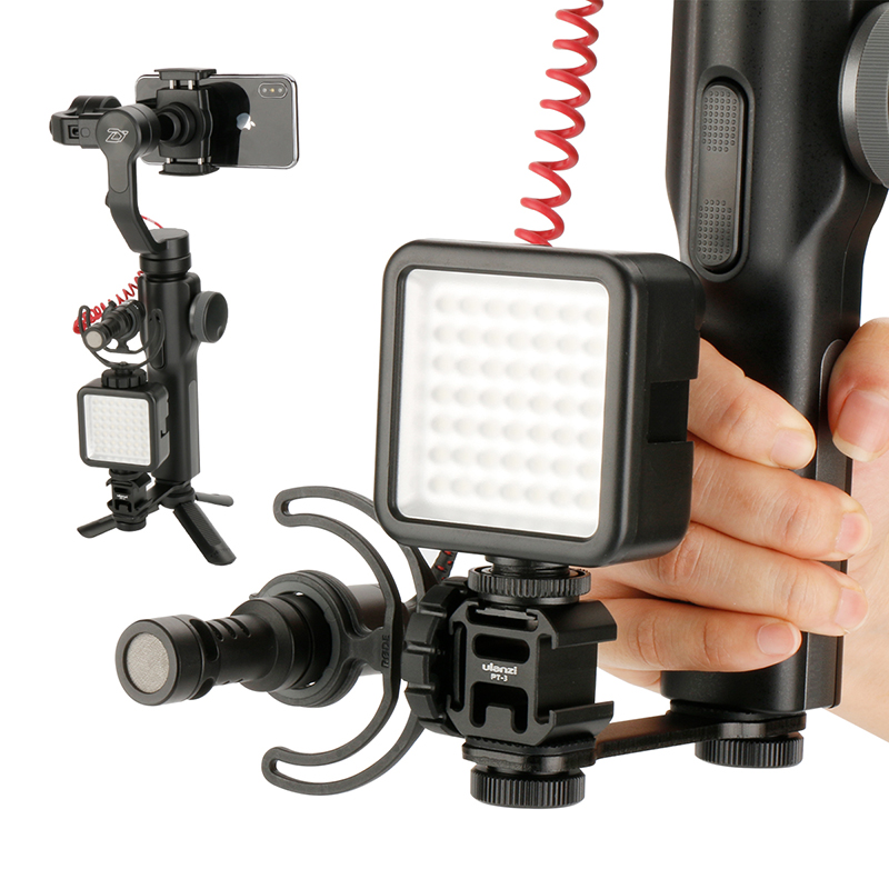 For DJI Osmo Mobile 3 2 Accessories Triple Hot Shoe Mount Gimbal Adapter Extension Bracket For Zhiyun Smooth 4 Q2 Osmo Pocket