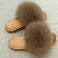 JKP Winter Warm Women Fur Tøfler Mode Real Fox Fur Beach Sandal Forældre-Barn Sko Fluffy Comfy Furry Flip Flops