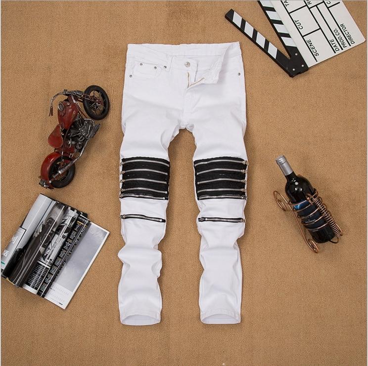 Wholesale Retail New Male Club Jeans red White Knee Multi zipper Men Brand Slim motorcycle biker
