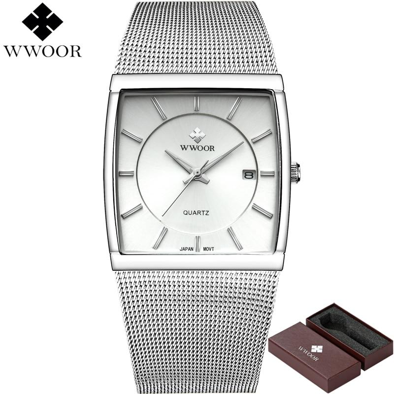 New WWOOR Brand Luxury Men Watches Square Waterproof Stainless Steel Wristwatch Men's Quartz Sports Watch Male Analog Date Clock стоимость