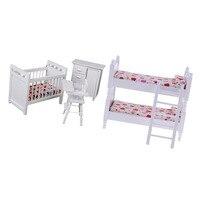 2pcs 1/12 Dollhouse Miniature Wooden Bunk Bed & Nursery Cradle Set Furniture Accessory