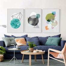 Nordic Watercolor Geometric Color Block Polygon Wall Art Canvas Spray Painting Poster Modern Abstract Living Room Decor