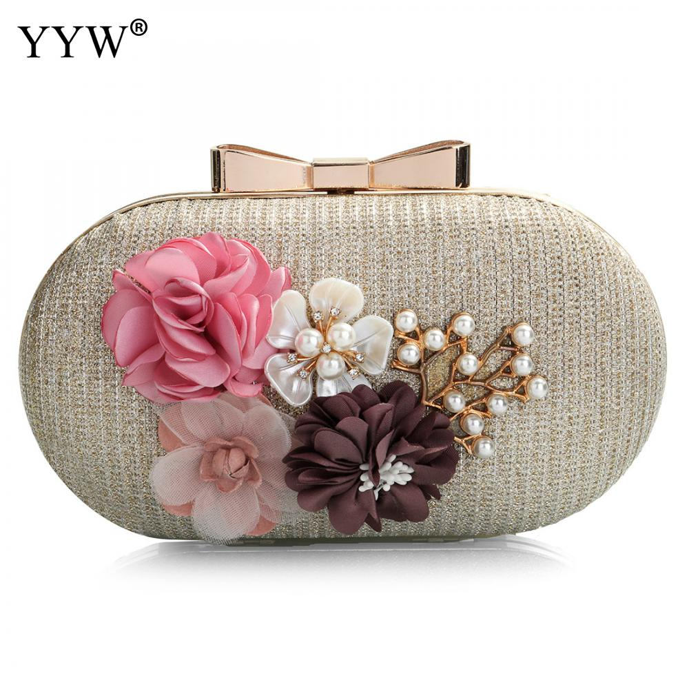 Elegant Women Leather Clutch Bag Floral Shoulder Bags Day Clutch Wallet Wedding Purse Party Woman Evening Bag Black Gold Silver