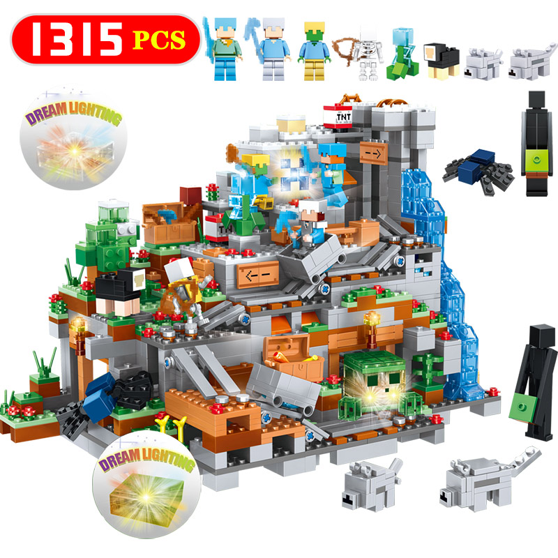 купить 1315pcs My World Mechanism Cave Building Blocks LegoINGLYS Minecrafted Aminal Alex Action Figures Brick Toys For Children недорого