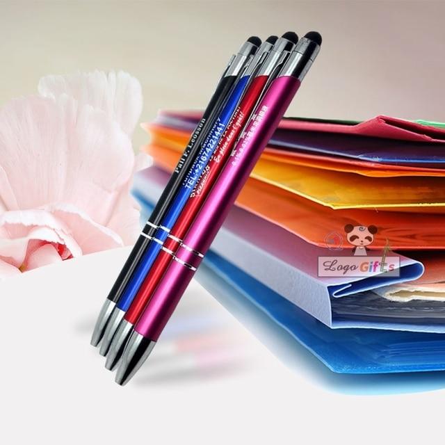 40pcs free shipping new design metal ball touch stylus pen free logo