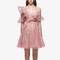 2017 Merk Runway jurk Roze een schouder hol kant jurk vrouwen Wit/Roze/Blauw/Zwarte kleur party club mini jurken