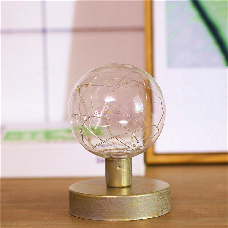 Ins Nordic Style Iron Home Office Led Night Lamp Copper Wire String Bulb Lamp AA Battery Retro Indoor Lighting Lampada