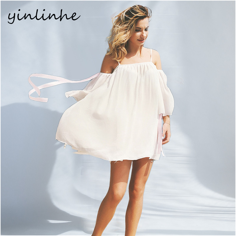053c3d5f11ec4 yinlinhe Off Shoulder Strap White Beach Dress Chiffon Bow Short Sleeve  Women Summer Dress Sexy Slash Neck Elegant Tops 099