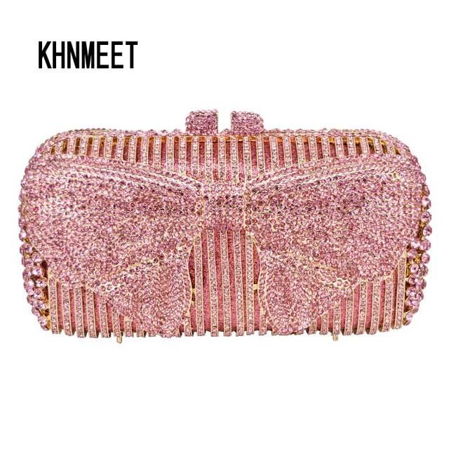 Luxury Pink bowknot Evening Clutch Bag Plum blossom Pattern Blue Crystal  Diamond Evening Bag Wedding Purse soiree pochette sc554 193c021fbdea