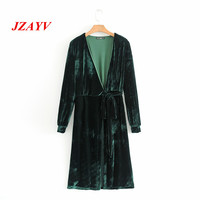 JZAYV Elegant Dark Green Comfortable Material Belt Velvet Coats Women Casual Trench Coat Elegant V Neck