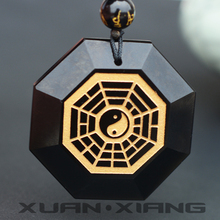 Men Necklace Pendant Natural Obsidian Gossip The Universe aurification Gift for Fashion Jade Stone Jewelry