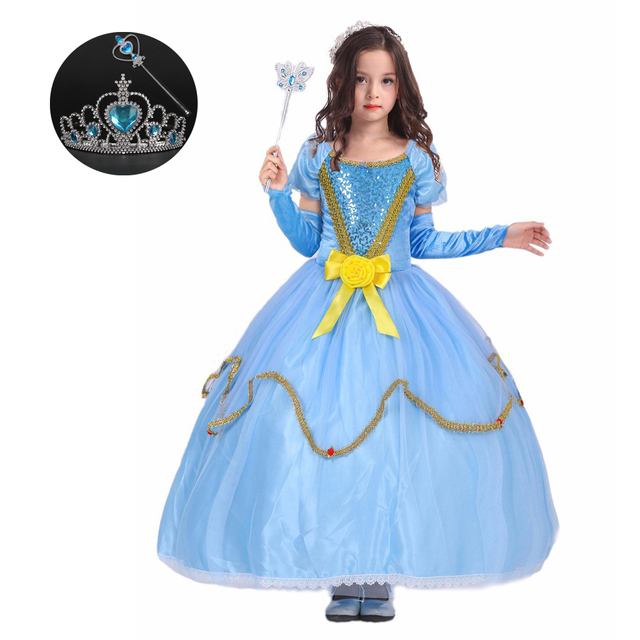 fall childrens clothing cinderella dress costume princess cosplay for girls christmas clothes children party dress with - Christmas Clothes For Kids