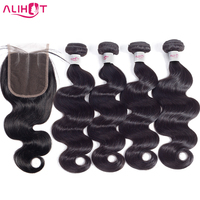 Ali Hot Hair Peruvian Body Wave 4 Bundles With Closure 100% Human Hair Bundles With Closure Non Remy Hair Extensions