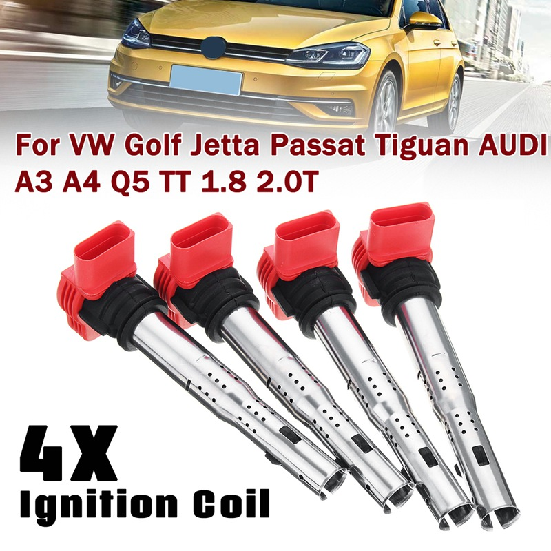 цена на Autoleader 4Pcs/Set Universal Red Ignition Coil for VW for Golf for Jetta for Passat for Tiguan for AUDI A3 A4 Q5 TT 1.8 2.0T