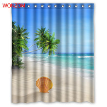 WONZOM Beach Sky Tree Curtain with 12 Hooks For Bathroom Decor Modern Landscape Bath Waterproof Accessories