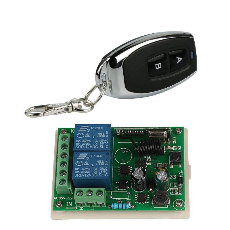 Universal 433 Mhz RF 2 canal Control remoto código de aprendizaje (1527/ev1527) key FOB transmisor + 2 canal relé módulo receptor