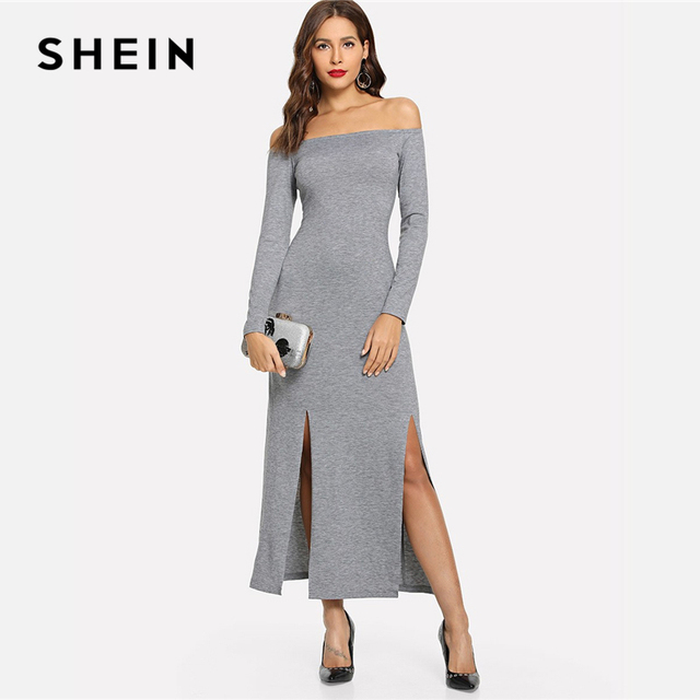040ec450c0b2 SHEIN Grey Off Shoulder Slit Hem Heathered Knit Dress Elegant Long Sleeve  Sheath Slim Dresses Women Autumn Plain Maxi Dress