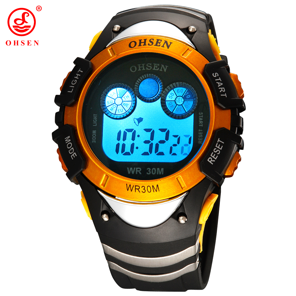 OHSEN Boys Sports Watches Alarm Day Date Stopwatch Rubber Band <font><b>LED</b></font> Back Light 30M Waterproof Wristwatch Digital Yellow Watch Men