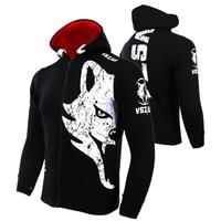 VSZAP Warm Winter Boxing Shirt Hoodie Tracksuits Fight MMA Gym Tee Shirt Boxing Fitness Sport Muay