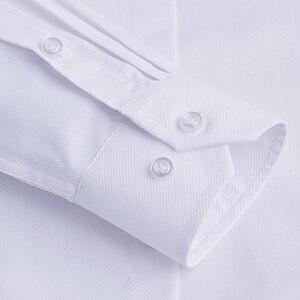 Image 5 - QISHA Mens Camisa do Negócio de Manga Comprida Casuais Inteligentes Sarja Cor Sólida Masculino Camisa Roupas Fino Profissional New Cinza Homem Social