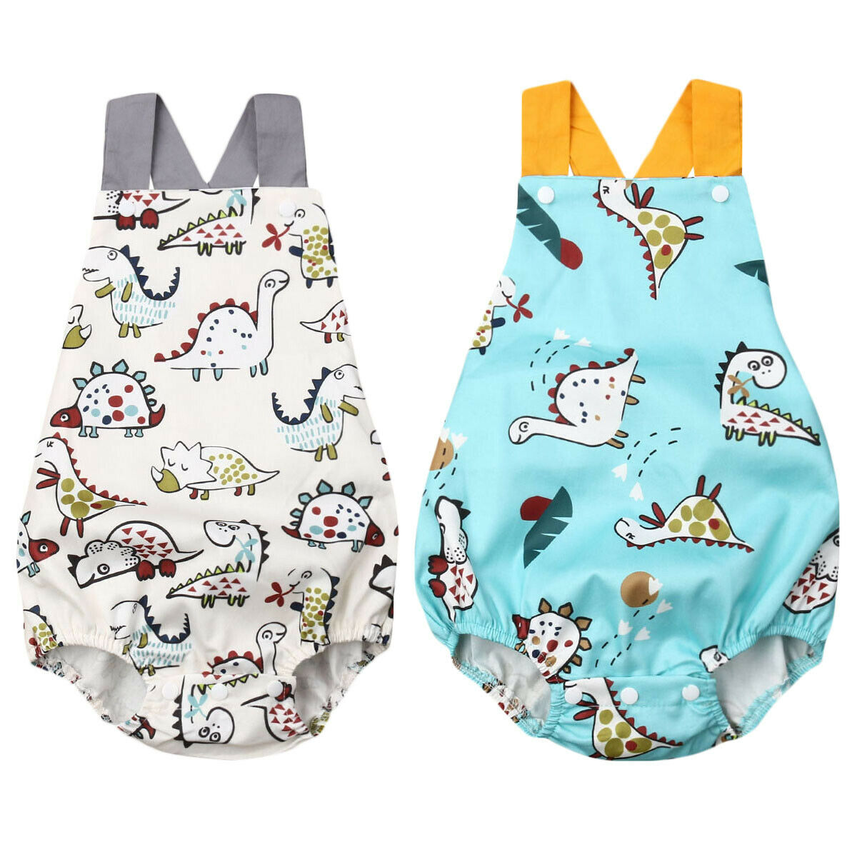 0-3Y Cute Newborn Baby Boy Girl Sleeveless Cartoon Dinosaur Bodysuit Jumpsuit One Pieces Summer Clothes