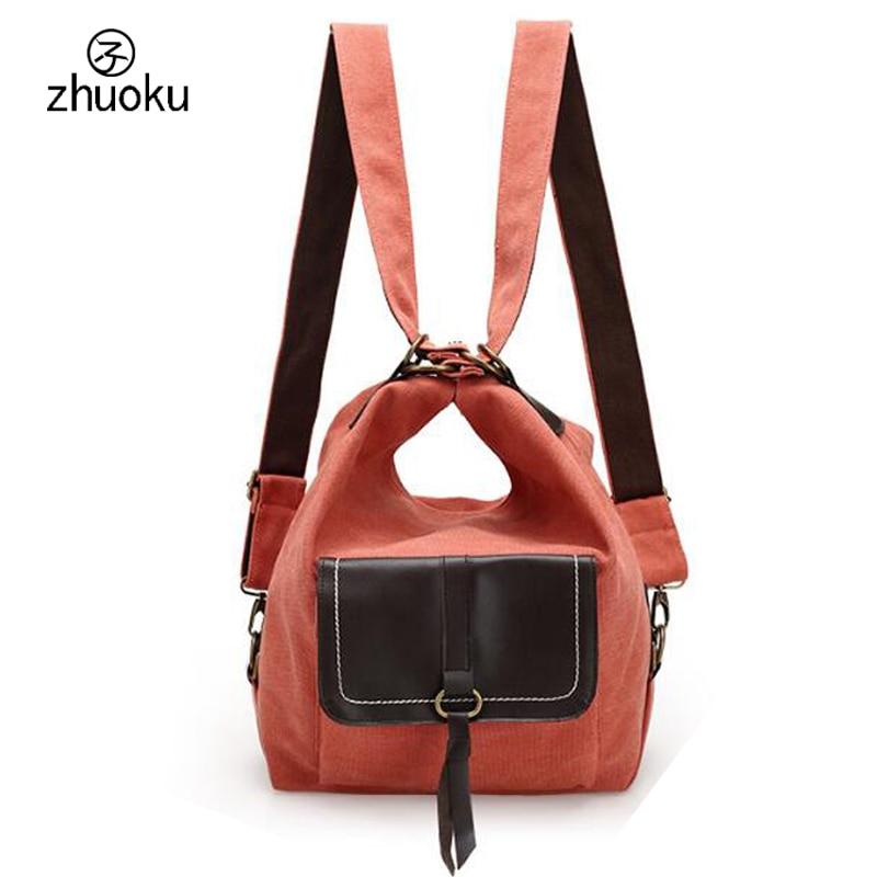 Multifunción bolso de la lona bolsa de doble Hombro bolsa de mujeres de la marca