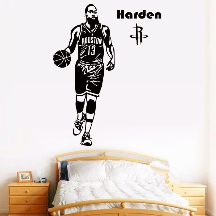 Free shipping Basketball player James Harden classic action poster wall decorative stickers home decor mural in Wall Stickers from Home Garden